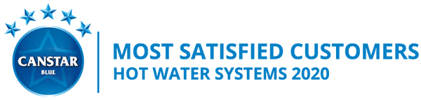 Canstar Blue Award - Most Satisfied Customers - Hot Water Systems 2020 - Awarded to Solahart