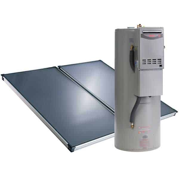 Rheem split system solar hot water system from Solahart which has a roof mounted solar panels and ground mounted hot water tank featuring a gas booster